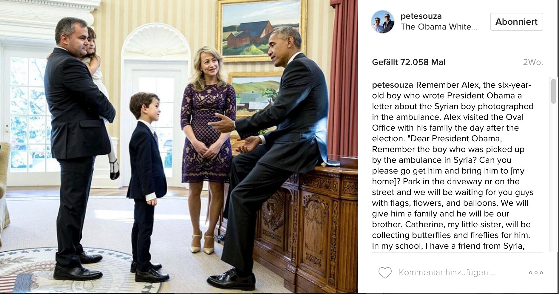 "Pete Souza on Instagram: ""Remember Alex"""