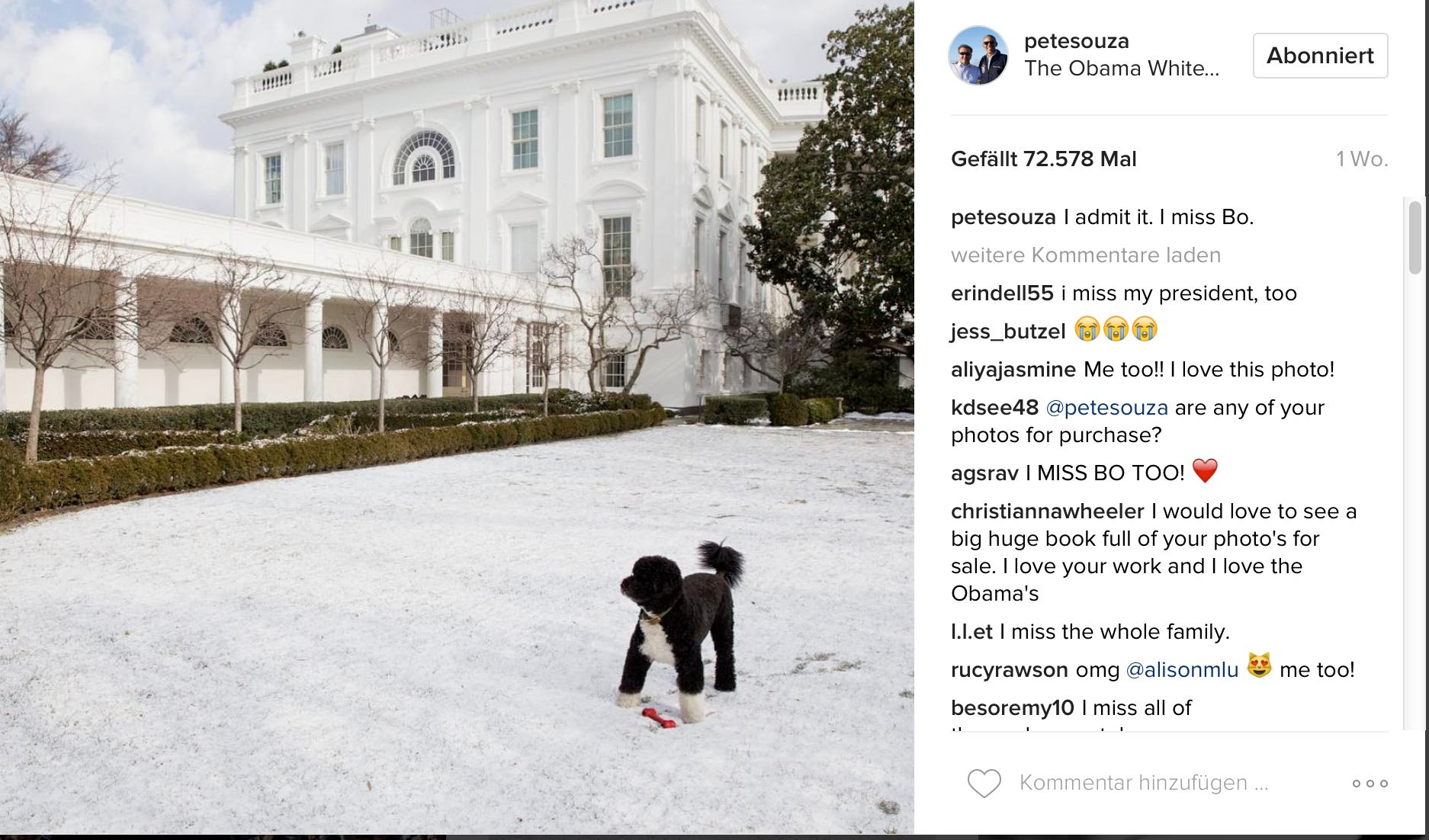 Pete Souza auf Instagram: Missing Bo, Missing Barack Obama ?