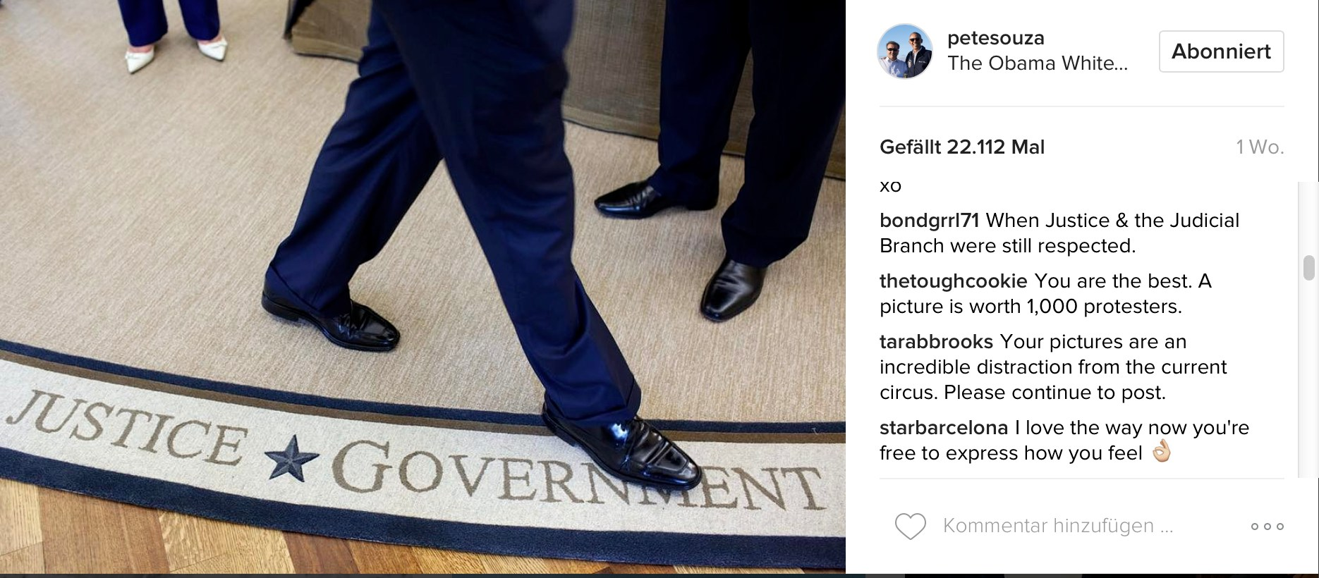 Pete Souza auf Instagram: Justice Government