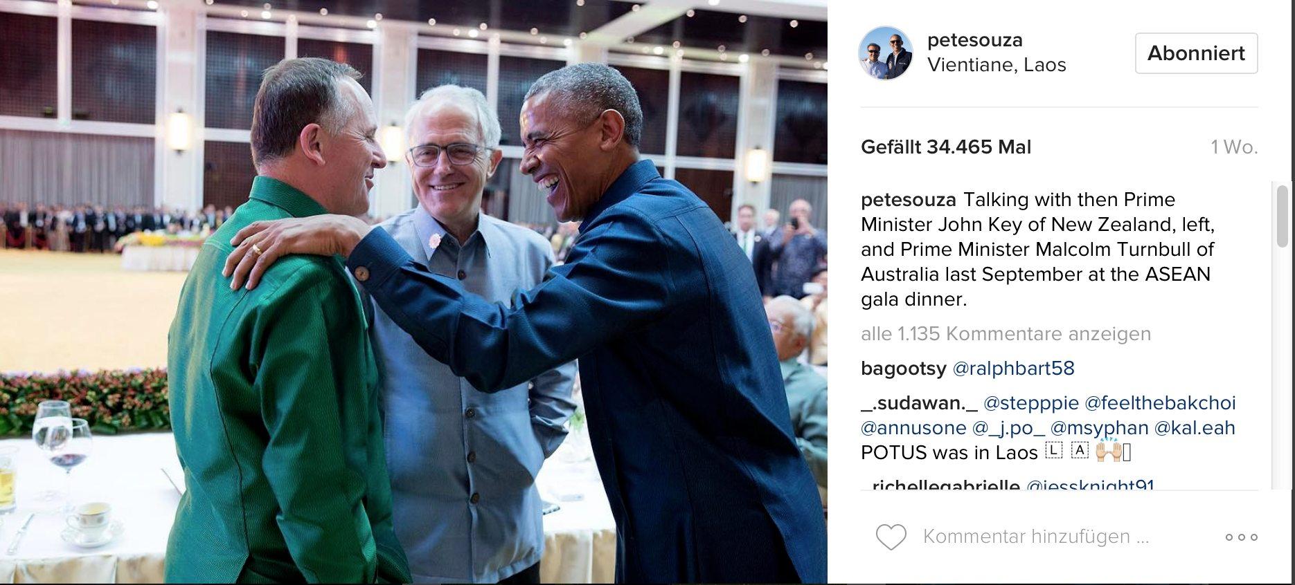 Pete Souza auf Instagram: Treffen Obamas mit Premier Turnbull